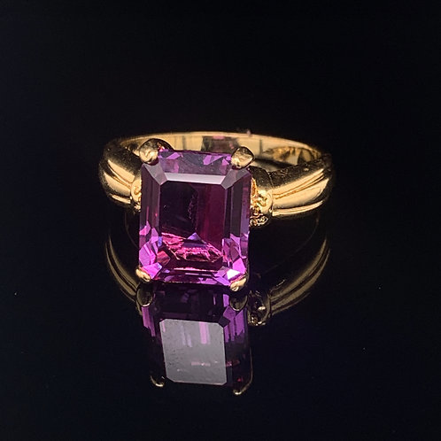 Sterling Silver Gold Plated Amethyst Ring