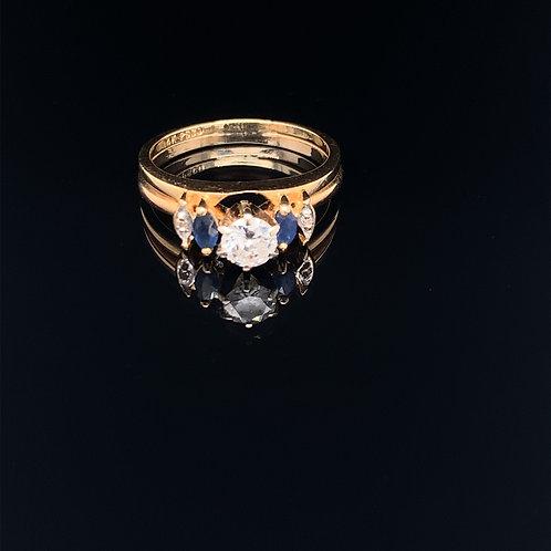 14k Yellow Gold Diamond and Sapphire Wedding Set