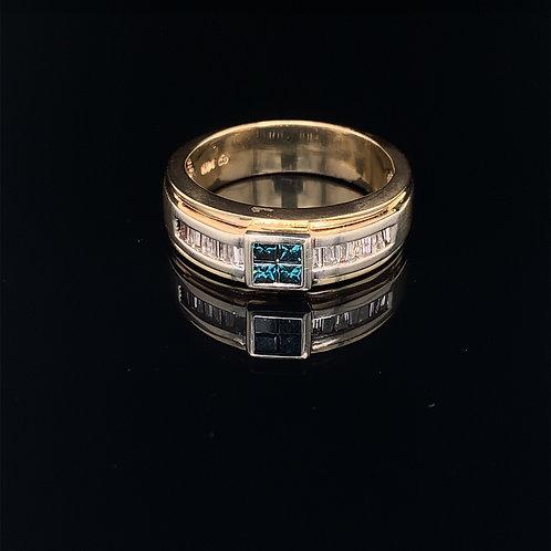 14k Yellow Gold Aquamarine and Diamond Baguette Ring