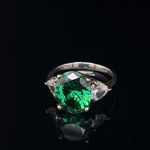 Sterling Silver Emerald and Heart shaped Cubic Zirconium Ring