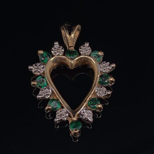 10k Yellow Gold Diamond and Emerald Heart Charm