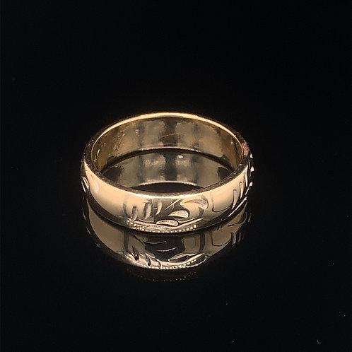 14k Yellow Gold Engraved Wedding Band