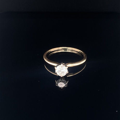 14k Yellow Gold Diamond Solitaire Engagement Ring