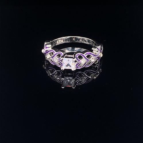Sterling Silver Princess Cut CZ with purple trim