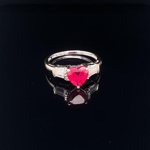 10k White Gold Heart Shaped Red Topaz Ring