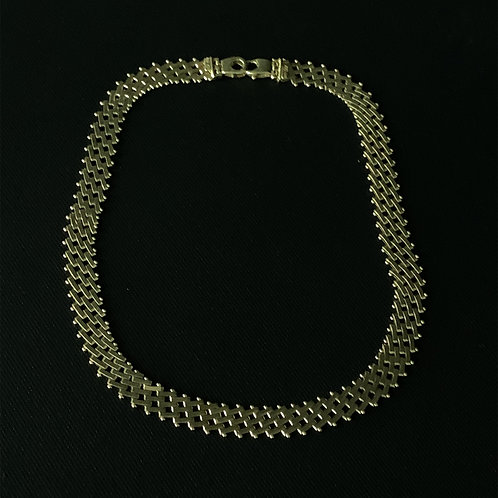 14k Yellow Gold Basket Weave Designer Necklace