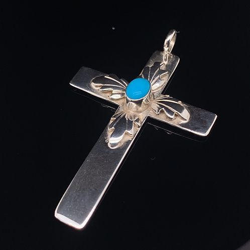 Sterling Silver Turquoise Cross Charm