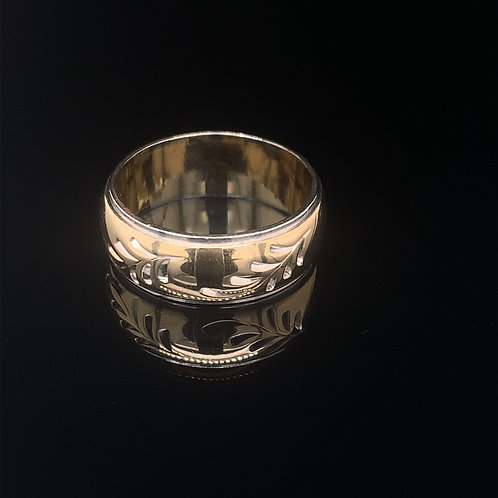 14k Yellow and White Gold Engraved Wedding Band