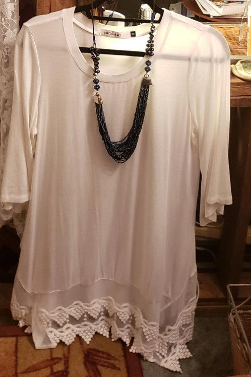 Soft rayon and lace tunic