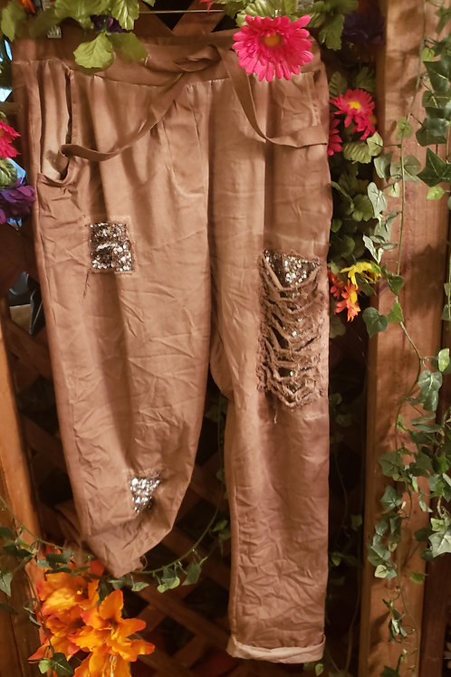 Boho pull on pant with sequin trim
