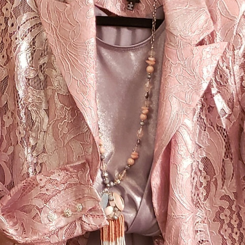 Pink and silver lace foil jacket