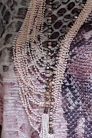 Pink multi strand beaded necklace
