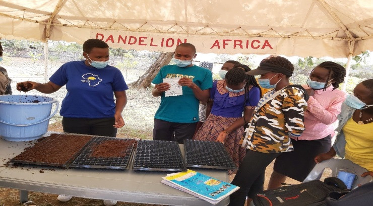 Kenyan agriculture students in Dandelion Africa's tent