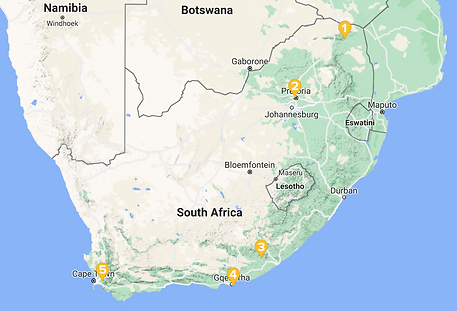 Map of South Africa with partner universities marked