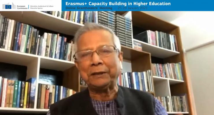 Screenshot of Muhammad Yunus speaking