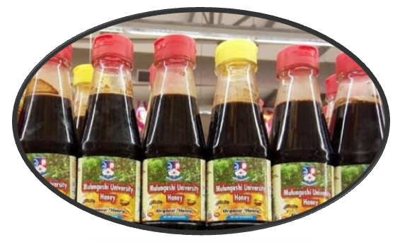 Bottles with Mulungushi University Honey etiquette