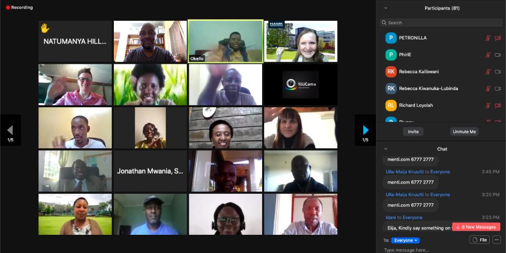 screenshot of Zoom training session