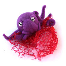Needle Felted Octopus with Net and fishes