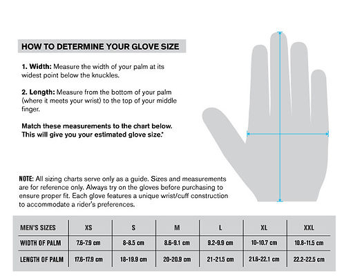calzata guanto taglia sizes fitting gloves