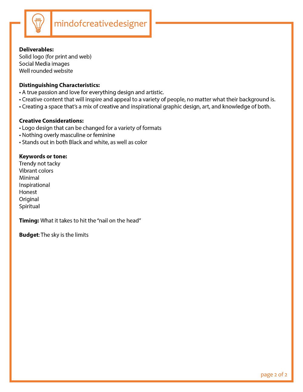 Creative Brief - Page 2
