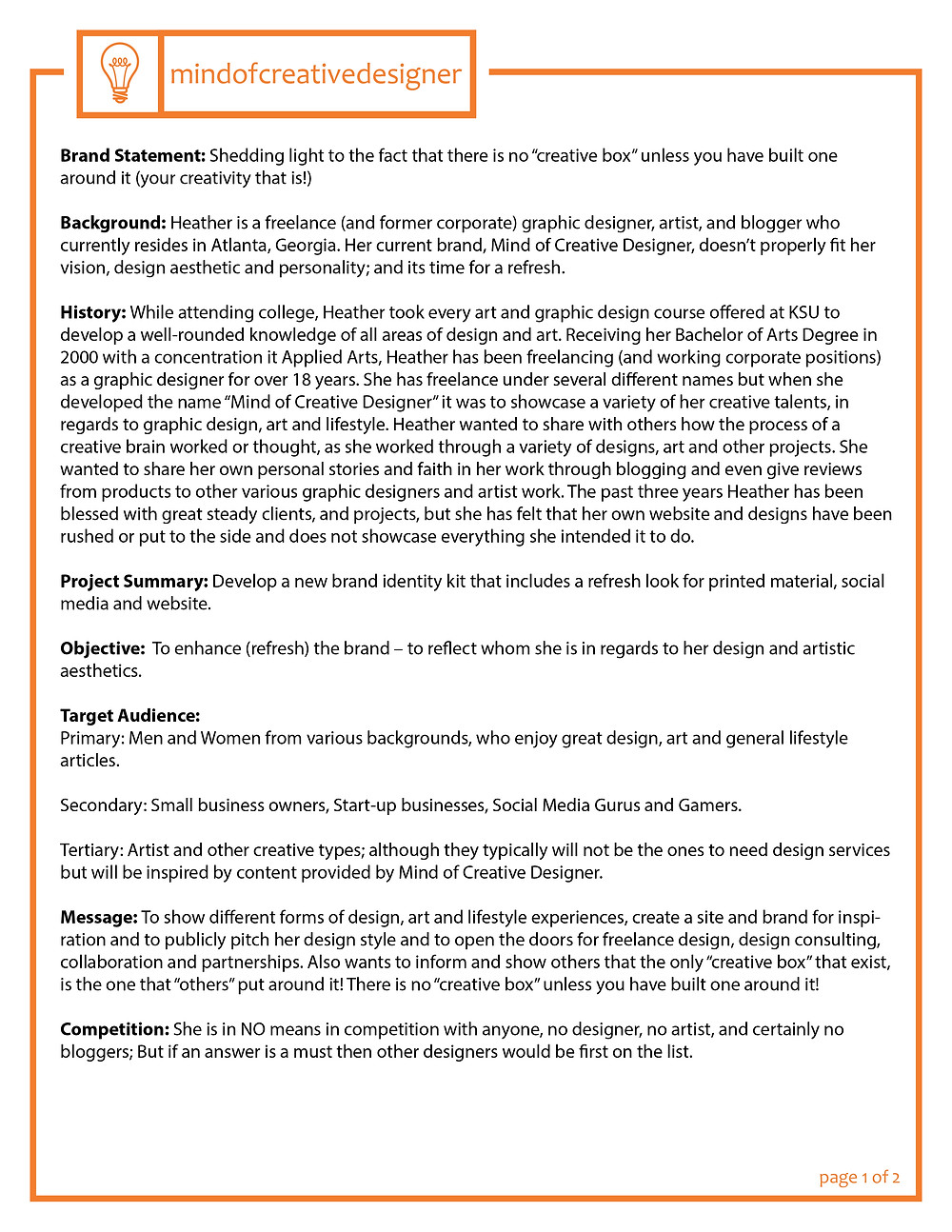 Creative Brief - Page 1