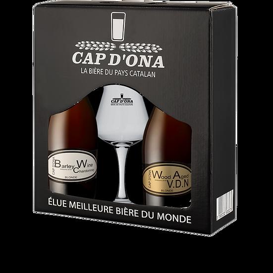 CB 12 Coffret 2 x 75cl + 1 V Barley Chardonnay, Wood Aged VDN, 1 Verre Sommelier
