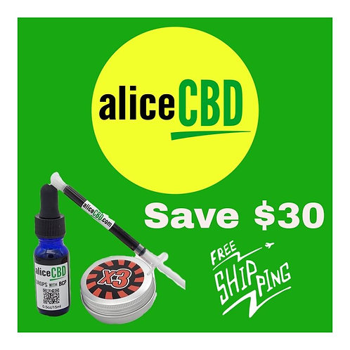 aliceCBD SM 15ml Drops/1 ml Paste/x3 Salve Combo