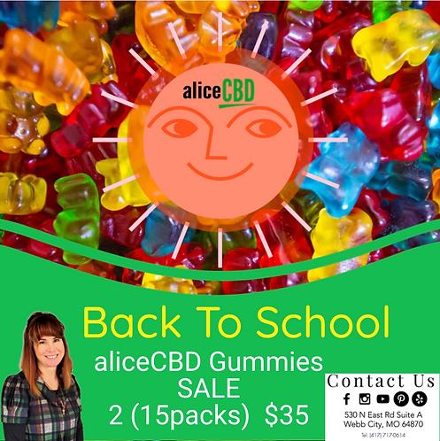 aliceCBD Gummies Sale (2) 15 Packs