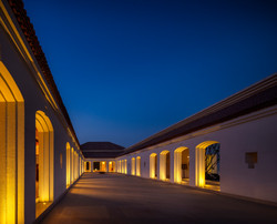 Central courtyard in twilight