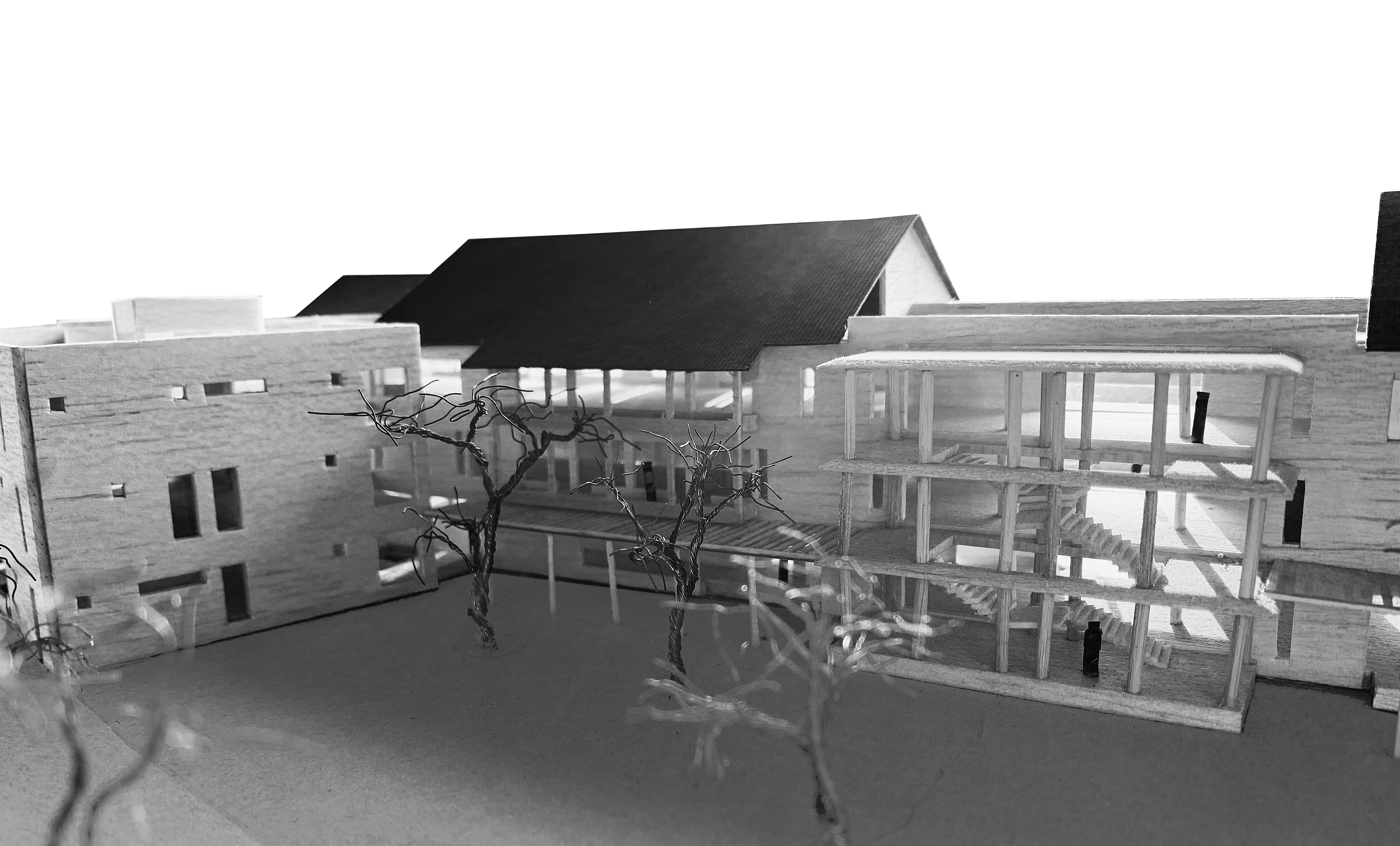 hospital with courtyard sloping roof