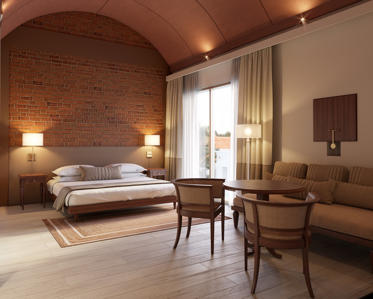 hotel room design with exposed brick