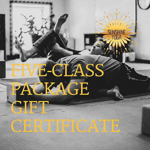 Five Yoga Class Package Gift Certificate