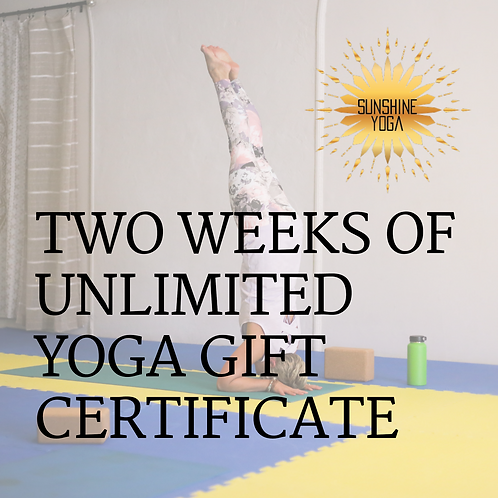 Two Weeks of Unlimited Yoga Gift Certificate