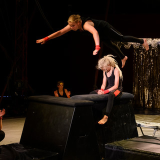 cirkus hoppar över person