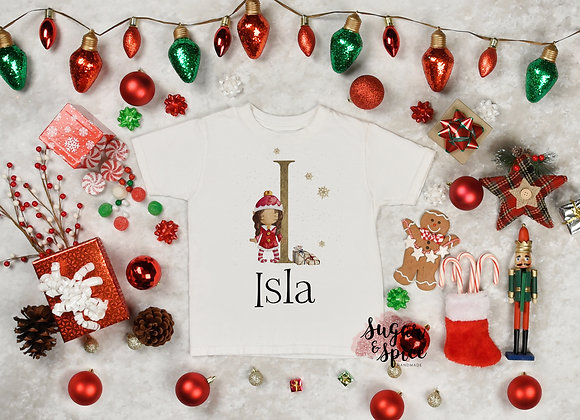 Personalised Girl Elf Christmas T-Shirt