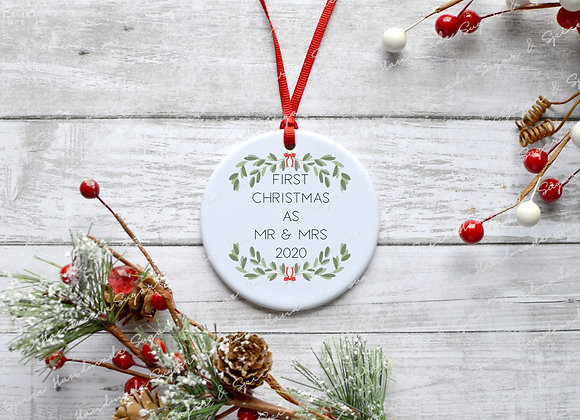 First Christmas as Mr and Mr Decoration - Wreath Design