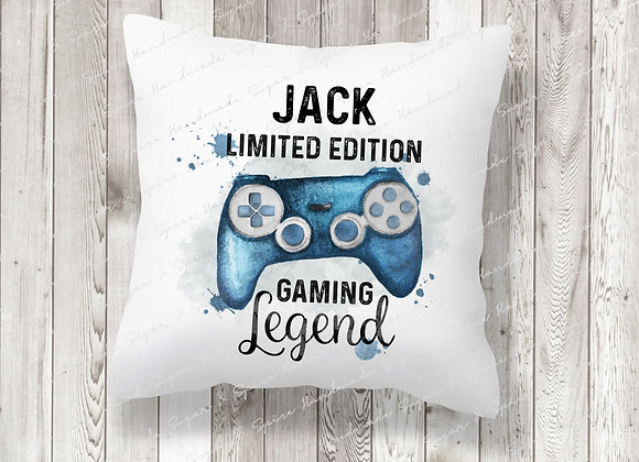 Personalised Blue Gaming Legend Cushion