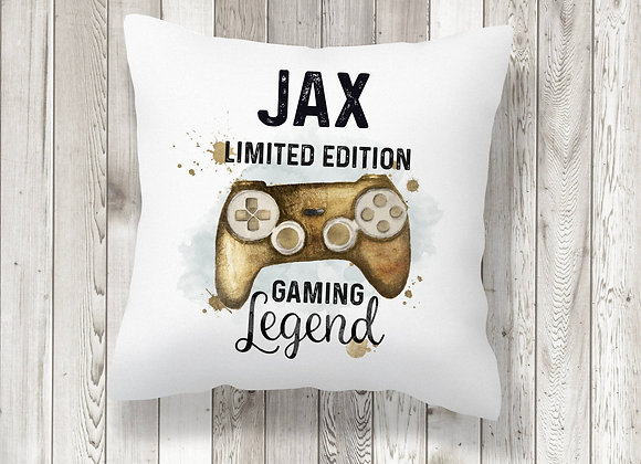 Personalised Gold Gaming Legend Cushion