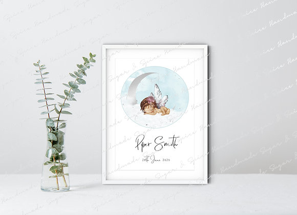 Personalised Baby Boy A4 Print