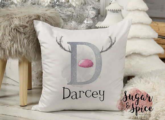 Personalised Reindeer Initial Christmas Cushion