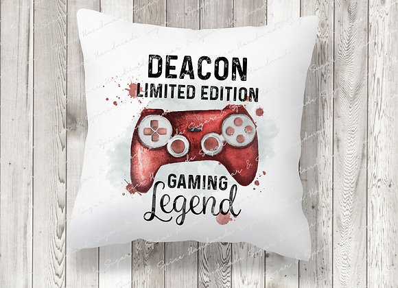 Personalised Red Gaming Legend Cushion