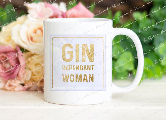 Personalised Gin Dependant Woman Mug