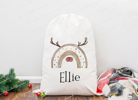 Personalised Reinbow Christmas Sack