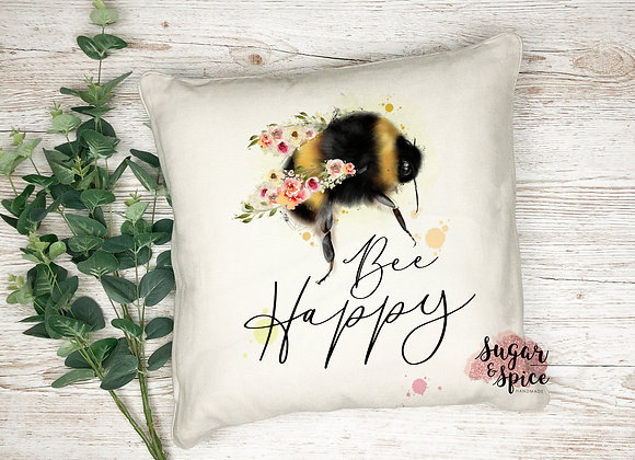 Bee Happy Bumble Bee Cushion