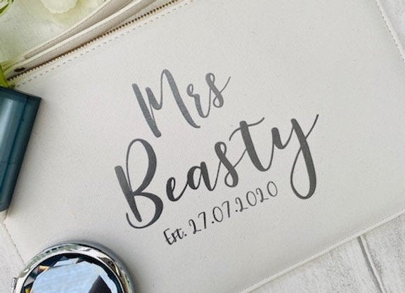 Personalised Mrs Est Clutch Bag