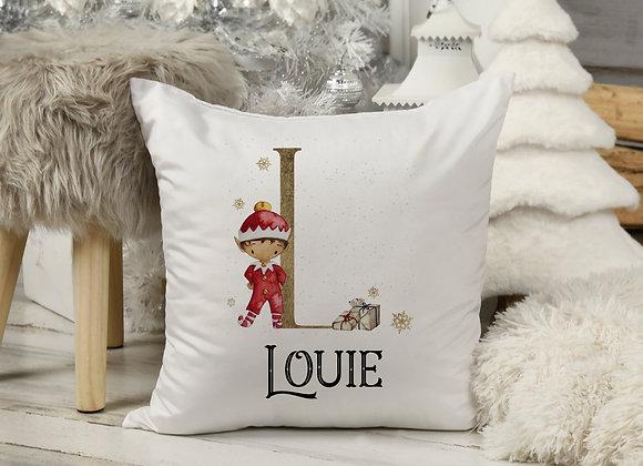 Personalised Elf Christmas Cushion