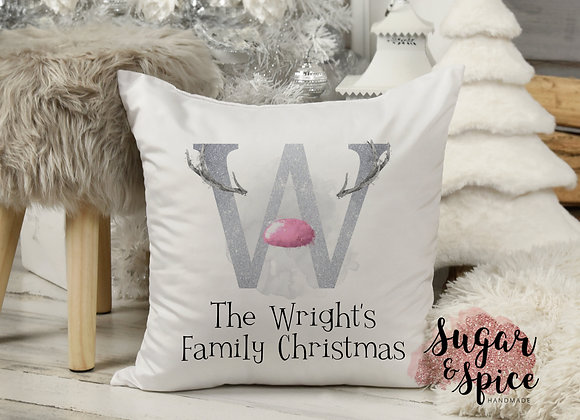 Personalised Reindeer Family Initial Christmas Cushion