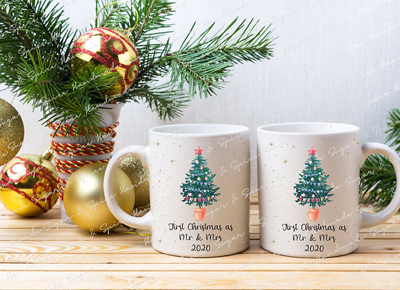 First Christmas as Mr & Mrs Mugs - Tree Design