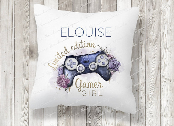Personalised Purple Girl Gaming Legend Cushion
