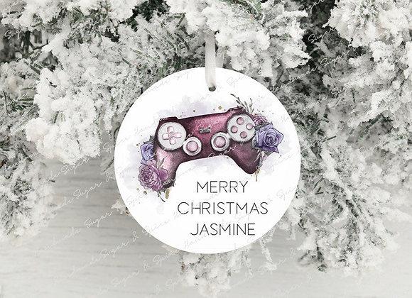 Personalised  Girl Gamer Christmas Decoration